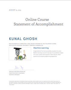 Coursera ML-Class statement of Accomplishment